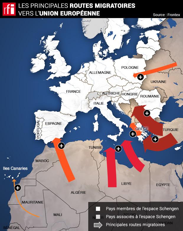 Carte Europe Routes.Infographie Carte Des Principales Routes Migratoires Vers L
